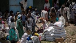 FILE - An Ethiopian woman sits on sacks of wheat to be distributed by the Relief Society of Tigray in the town of Agula, in the Tigray region of northern Ethiopia, May 8, 2021.