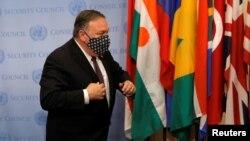 美國國務卿蓬佩奧2020年8月20日訪問紐約聯合國總部(路透社)