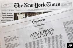 "An editorial titled ""A Free Press Needs You"" is published in The New York Times, Aug. 16, 2018, in New York. Newspapers from Maine to Hawaii pushed back against President Donald Trump's attacks on ""fake news"" Thursday with a coordinated series of editorials speaking up for a free and vigorous press."