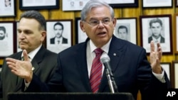 U.S. Sen. Bob Menendez (D-NJ) speaks about President Barack Obama's planned trip to Cuba during a news conference, Feb. 18, 2016, in Union City, New Jersey.