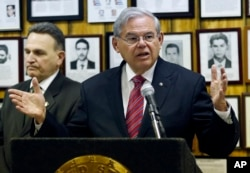 FILE - U.S. Sen. Bob Menendez (D-NJ) speaks about President Barack Obama's planned trip to Cuba during a news conference, Feb. 18, 2016, in Union City, N.J.