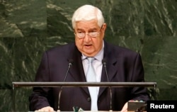 Syria's Foreign Minister Walid al-Moualem addresses the 69th United Nations General Assembly at the United Nations headquarters in New York, Sept. 29, 2014.