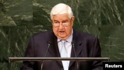 Menlu Suriah Walid al-Moualem berbicara di depan Majelis Umum PBB hari Senin (29/9).