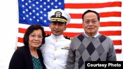 U.S. Navy Commander Chap Sokunthea with his parents. (Courtesy photo of the Chap's family)