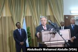 UN Secretary-General Antonio Guterres, addresses the media in Mogadishu, Somalia, March 7, 2017.