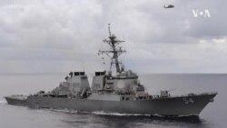 """美軍導彈驅逐艦""""柯蒂斯·威爾伯""""號(USS Curtis Wilbur DDG 54)2021年6月22日在南中國海航行"""