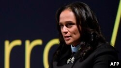 FILE - Angolan businesswoman Isabel dos Santos delivers a speech during the start of the new EFACEC Portuguese corporation's electric mobility industrial unit, Feb. 5, 2018 in Maia.