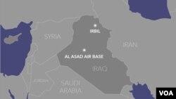 Mapa das bases militares atacadas no Iraque, pelo Irão