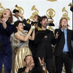 Arcade Fire backstage at the Grammy Awards