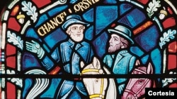 The stained glass honoring Robert E. Lee and Stonewall Jackson at Washington D.C.'s National Cathedral.