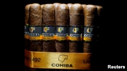 Cohiba cigars are seen on display at the 19th Habanos Festival in Havana, Cuba, Feb. 27, 2017.