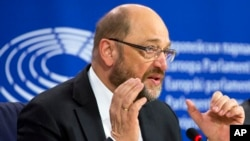 European Parliament President Martin Schultz speaks during a media conference at the European Parliament in Brussels, Jan. 14, 2016.