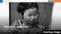 "Screenshot of a new report by the Human Rights Watch titled ""What Hell Feels Like: Acid Violence in Cambodia"" released on Tuesday, February 5, 2019."