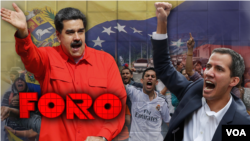 Prezidan Nicolàs Maduro (agoch) epi Prezidan Pwovizwa a Juan Gauidò (adwat).