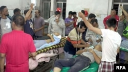 Chinese power plant workers injured in a fight with Bangladeshi work mates are treated at Sher-e-Bangla Medical College Hospital in Barisal, Bangladesh, June 19, 2019. (Photo: RFA)