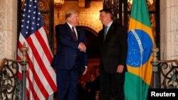 Donald Trump e Jair Bolsonaro na Florida, em março de 2020