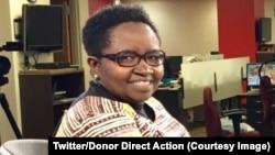 Justine Masika Bihamba, fondatrice de l'organisation Synergie des femmes, lors d'une interview avec VOA Afrique à Mew York, 1er novembre 2017. (Twitter/Donor Direct Action)