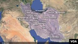Peta aksi protes di Iran.