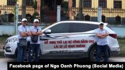 Chiếc xe của một nữ doanh nhân Ngô Oanh Phương vận động cho tự do và công bằng cho lái xe Lê Ngọc Hoàng