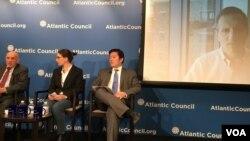 美國大西洋理事會 舉行中國-台灣及社交媒體座談會 (美國之音鐘辰芳拍攝)