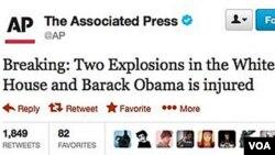 Ảnh chụp màn hình tin nhắn trên mạng twitter trong tài khoản của AP, nhưng được bác bỏ sau đó vì là tin sai