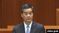 香港特首梁振英出席立法会答问大会(电视画面截图)