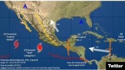 Ubicación del huracán Bud y de la tormenta tropical Aletta en la costa del Pacífico mexicana. Imagen, de la Coordinación General del Servicio Meteorológico de México, CONAGUA.