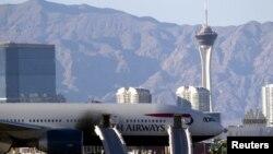 Pesawat British Airways setelah insiden di Bandara Internasional McCarran di Las Vegas.