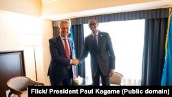 Prezida w'u Rwanda Paul Kagame kumwe na Filippo Grandi umuyobozi mukuru wa HCR