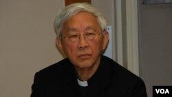 天主教香港教區榮休主教陳日君樞機認同,如有確切的目標,不排除公民抗命 (美國之音湯惠芸拍攝)