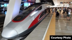 China's new 'Fuxing' high-speed bullet trains will be allowed to reach speeds up 350 kilometers per hour. (Zhuzhou CRRC Times Electric Co.)