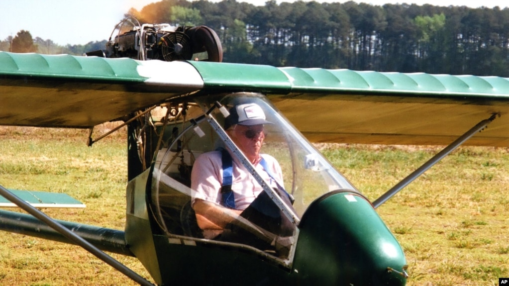Ray Gefken In The Tight Cockpit Of His Ultralight, Single Seat Airplane. (