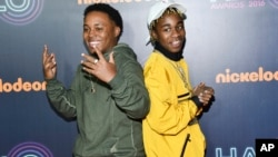 Detroit rap duo Zayion McCall, left, and Zay Hilfigerrr attend the 2016 Nickelodeon HALO Awards at Pier 36, Nov. 11, 2016, in New York.