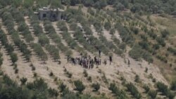 گروهی از آوارگان سوری در انتظار اجازه عبور از مرز ترکیه - ۸ ژوئن ۲۰۱۱