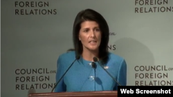 U.S. Permanent Representative to the UN Ambassador Nikki Haley at the Council on Foreign Relations