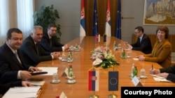 Srpski državni vrh tokom susreta sa visokom predstavnicom EU u Beogradu