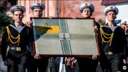 უკრაინის საზღვაო ძალების დროშა, რომელიც 1918 წელს დამზადდა.