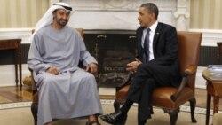 باراک اوباما، رییس جمهوری آمریکا سمت راست و ولیعهد ابوظبی در کاخ سفید - ۲۶ آوریل ۲۰۱۱