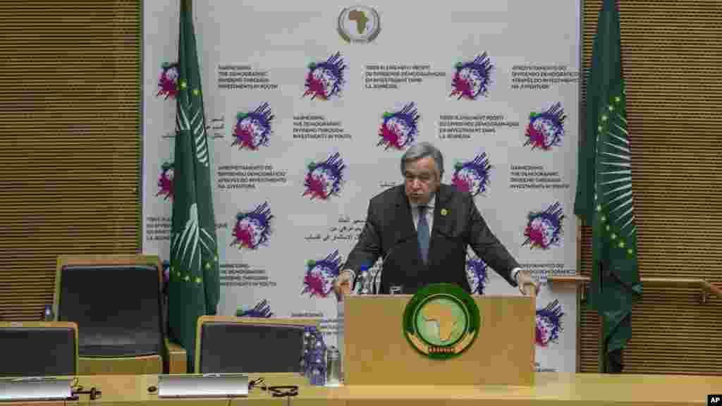 Le Secrétaire général de l'ONU, Antonio Guterres, prononce un discours au siège de l'Union africaine (UA) à Addis-Abeba, Ethiopie, le 30 janvier 2017.