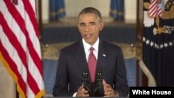 Barack Obama discursando sobre estratégia para combater o grupo terrorista ISIL