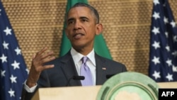 US President Barack Obama delivers a speech at the African Union Headquarters in Addis Ababa on July 28, 2015.
