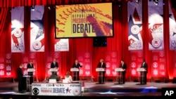 미국 공화당 대선 후보들의 9차 TV 토론회 모습 (2월 13일)