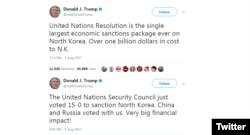 도널드 트럼프 대통령이 5일 트위터에 새 대북 제재 결의와 관련된 글을 올렸다.