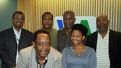 Members of the VOA Creole Service staff. (Left to Right) Service Chief Ronald Cesar, Lyonel Desmarattes, Jean Pierre Leroy, Jacques Jean Baptiste, Coralie St. Louis, and Jean Robert Philippe.