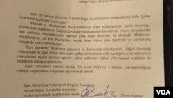 Bakı meriyasının Qarabağ Komitəsinə cavab məktubu