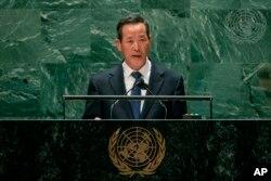 Duta Besar Korea Utara untuk PBB Kim Song berbicara di Majelis Umum PBB, 27 September 2021, di markas besar PBB. (Foto: AP)