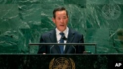 In this photo released by the United Nations, North Korea's U.N. Ambassador Kim Song speaks during the 76th session of the United Nations General Assembly, Sept. 27, 2021, at U.N. headquarters.