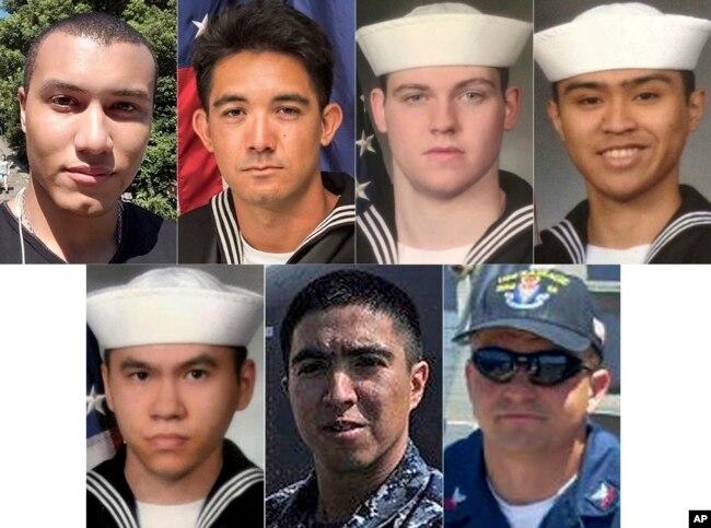 Bảy thủy thủ thiệt mạng trong vụ tai nạn tàu khu trục USS Fitzgerald, trong đó có một thủy thủ gốc Việt, anh Huỳnh Trương Ngọc Tân (hàng dưới, bên trái).