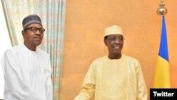 Shugaban Najeriya Muhammadu Buhari da Idris Deby na Chadi (Garba Shehu)