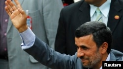 Iran's President Mahmoud Ahmadinejad during ceremony to swear Venezuela's President Nicolas Maduro, Caracas, April 19, 2013.